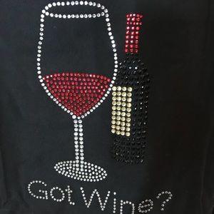"""NEW Beaded/Bling """"got Wine"""" Apron"""